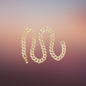 """Icy 14k Gold Plated 15mm Iced Stainless Steel 24"""" Iced Cuban Chain"""